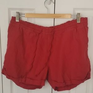 Old Navy mid-rise red linen blend shorts - size LG